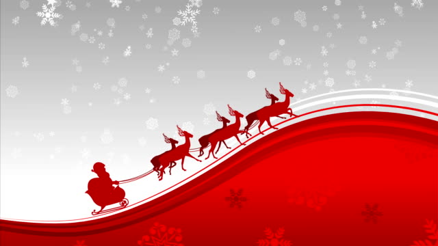 Santa Claus in Snow Flakes background loop