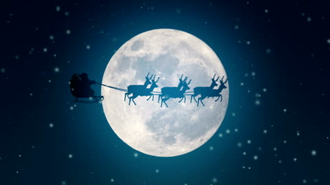 santa claus is flying in his sleigh over a full moon - fairy tale stock videos & royalty-free footage