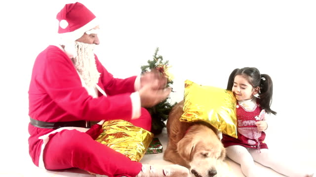 hd :santa claus & little girl & dog & present& eating - overweight dog stock videos & royalty-free footage