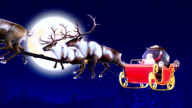 Santa Claus over full moon on Christmas Eve 4k