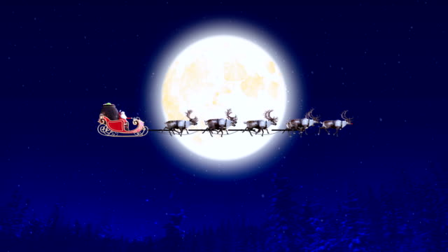 santa claus over full moon on christmas eve 4k - snow cornice stock videos and b-roll footage