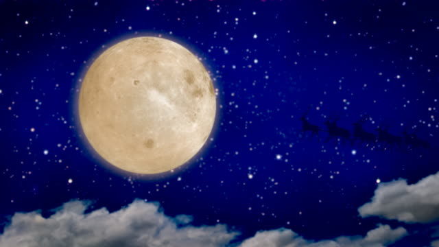 Santa Claus over full moon