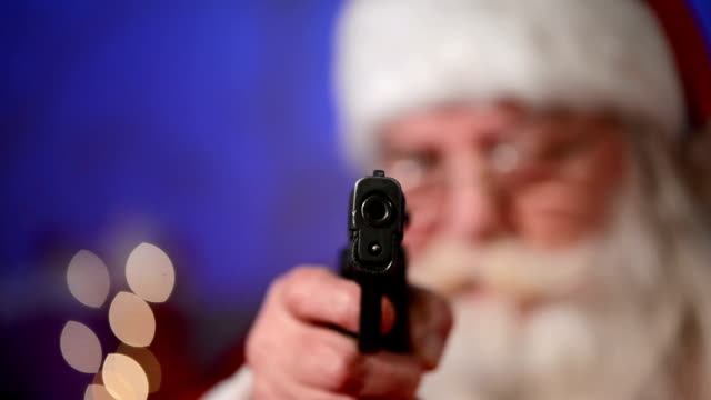 santa claus points a gun at someone - thief stock videos & royalty-free footage
