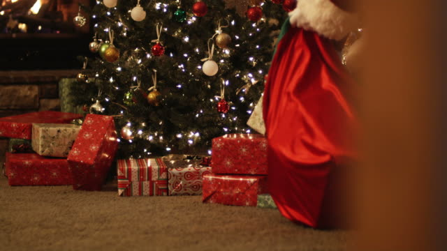 Santa Claus Putting Presents Under A Christmas Tree