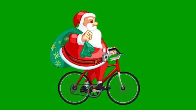 santa claus raiding cycle animations loops - sledge stock videos & royalty-free footage