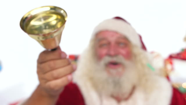 santa claus ringing a small bell. jingle bells. christmas set - bell stock videos & royalty-free footage