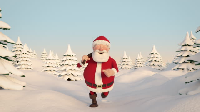 Santa Claus running through snowy landscape. Frontal View. Seamless loop