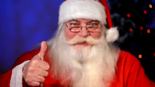 santa claus showing thumbs up and ok sign - admiration stock videos and b-roll footage
