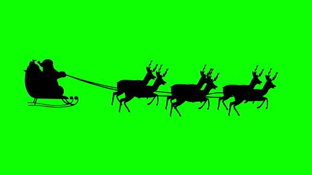 santa claus silhouette - sledge stock videos & royalty-free footage