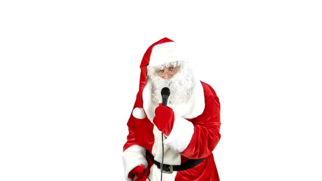santa claus sings a song - funny merry christmas greetings stock videos and b-roll footage