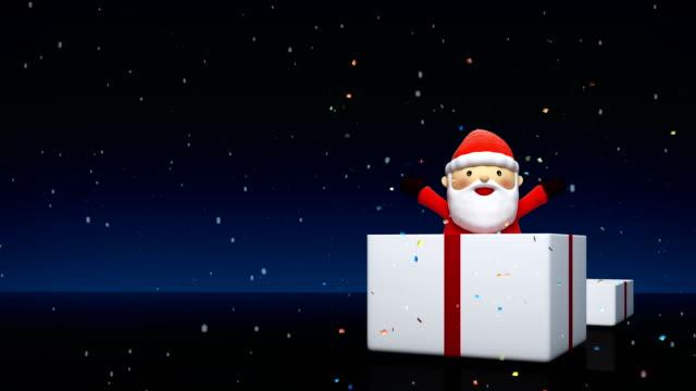 santa claus auspacken einer geschenkbox, santa claus charakter 3d-animation für weihnachtsfest, - heiliger stock-videos und b-roll-filmmaterial