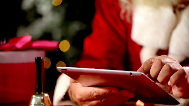 santa claus use tablet - father christmas stock videos and b-roll footage