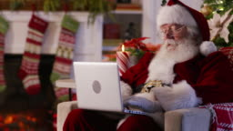 Santa Claus using in living room