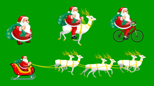 santa claus walk cycle and raid animations loops - funny merry christmas greetings stock videos and b-roll footage