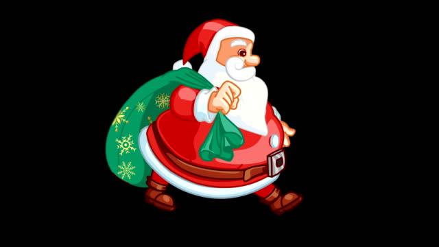 santa claus gehzyklus - weihnachtsgeschenk stock-videos und b-roll-filmmaterial