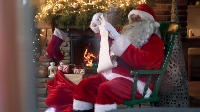santa claus with a long list/ zahoczewie/ poland - list stock videos & royalty-free footage