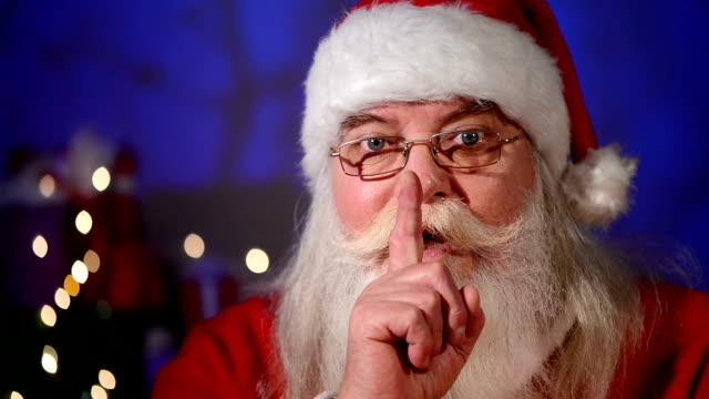 Santa Claus with fingers on lips