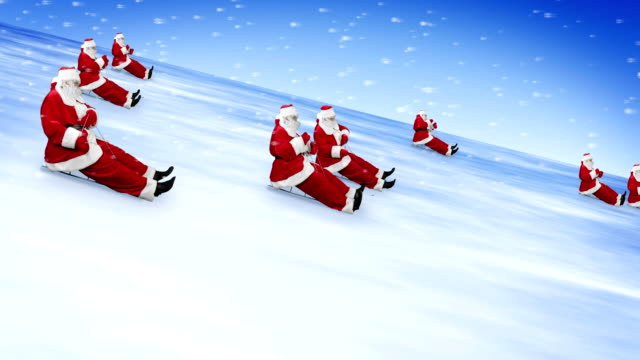 santa clauses celebrate new year 2015 - sledge stock videos & royalty-free footage