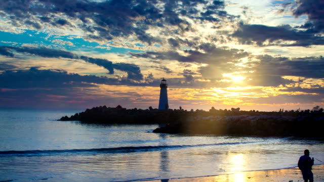 santa cruz lighthouse epic hdr timelapse - santa cruz california stock videos and b-roll footage