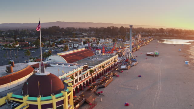 santa cruz waterfront at dawn - aerial shot - santa cruz california stock videos and b-roll footage