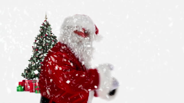 santa dancing by christmas tree - funny merry christmas greetings stock videos and b-roll footage