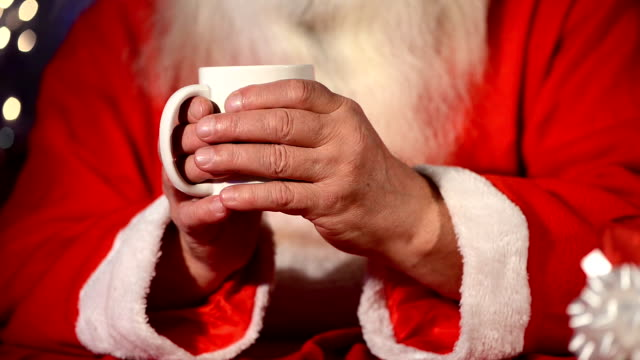 santa drinking tea - hot chocolate stock videos and b-roll footage