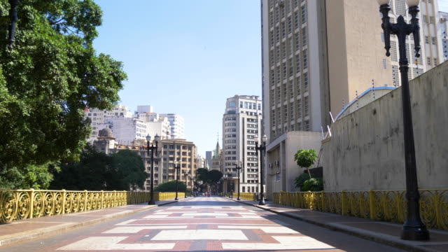 santa efigenia viaduct empty in a sunny day, sao paulo, brazil - avenue stock videos & royalty-free footage