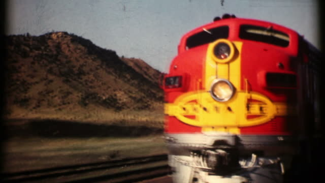 santa fe railroad 1956 16mm (hd1080) - lamy new mexico stock videos and b-roll footage