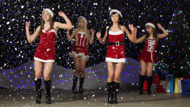 """Santa Helper-Tanz und mit Schild'Happy New Year"""""""