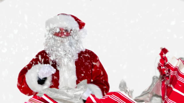santa in a gift - funny merry christmas greetings stock videos and b-roll footage