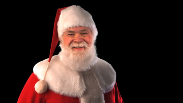 santa laughing close-up - this clip has an embedded alpha-channel - pre matted stock videos & royalty-free footage