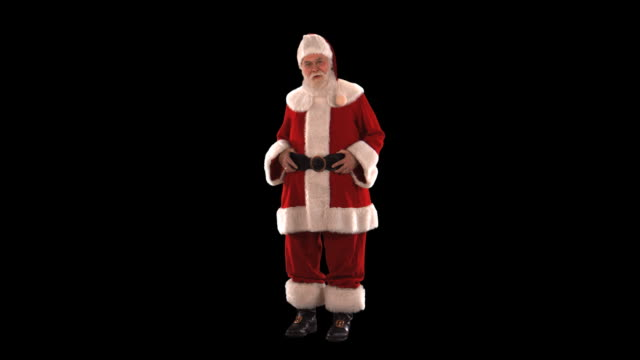 santa laughing - this clip has an embedded alpha-channel - pre matted stock-videos und b-roll-filmmaterial