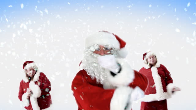 santa line dancing snow - funny merry christmas greetings stock videos and b-roll footage