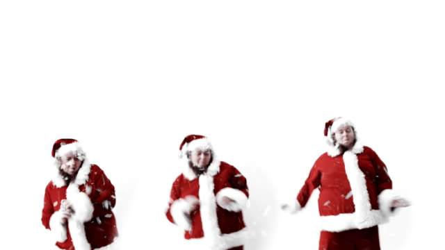 santa line dancing - funny merry christmas greetings stock videos and b-roll footage
