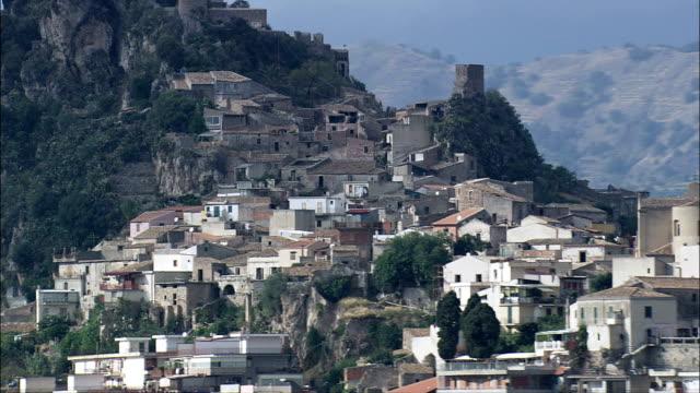 di Santa Margherita e forza d'Agro-Vista aerea-Sicilia, Provincia di Messina, forza d'Agrò, Italia