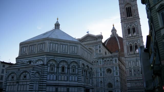 santa maria del fiore cathedral facade, in the morning light, florence, italy - monument stock videos & royalty-free footage