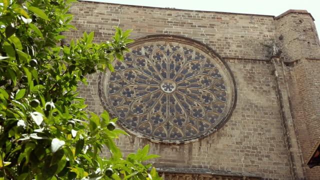 santa maria del pi basilica in barrio gotico, barcelona - rose window stock videos and b-roll footage