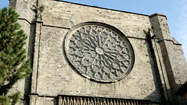 santa maria del pi church in barrio gotico, barcelona - rose window stock videos and b-roll footage