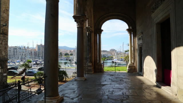 santa maria della catena church, exterior view of the church, main porch, palermo, sicily. - boundary video stock e b–roll
