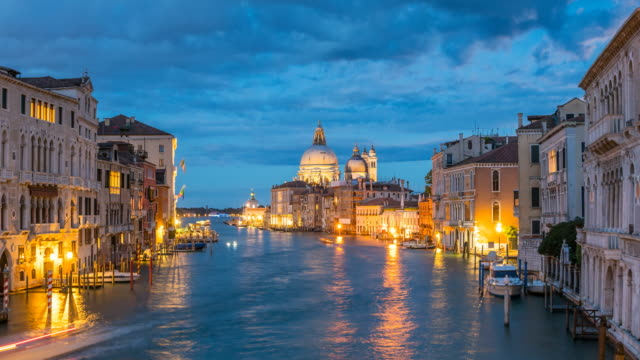 Santa Maria della Salute in Venice, Italy at night
