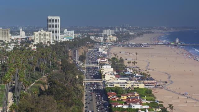 santa monica beach - drone shot - palisades park stock videos & royalty-free footage