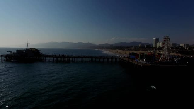 santa monica beach pier california - santa monica pier stock videos & royalty-free footage