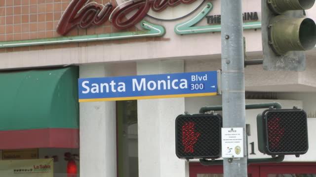 ms santa monica boulevard street sign in santa monica / los angeles, california, united states - santa monica sign stock videos & royalty-free footage