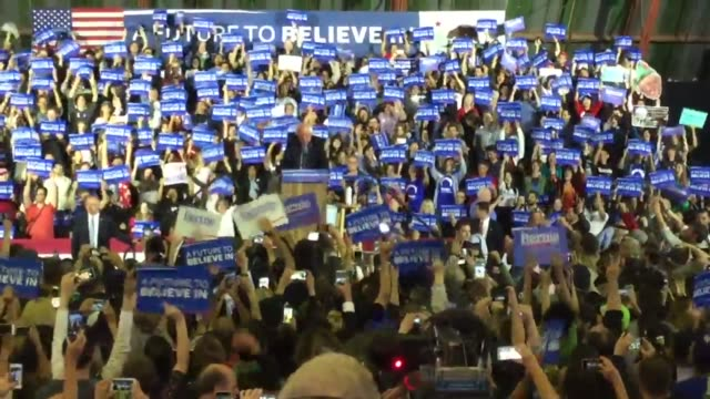 Santa Monica CA Footage of Bernie Sanders election night rally Includes snippet of election night speech broll of fans and soundbites with supporters...