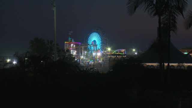 ktla santa monica ca us santa monica pier's ferris wheel illuinated in green light to celebrate earth day on wednesday april 22 2020 - earth day stock videos & royalty-free footage