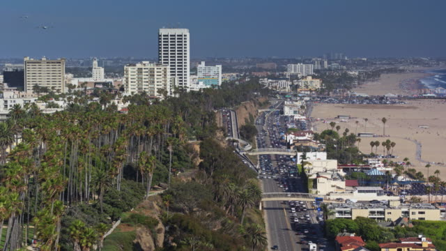 santa monica from the air - palisades park stock videos & royalty-free footage