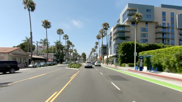 santa monica iii synced series front view driving process plate - santa monica house stock videos & royalty-free footage