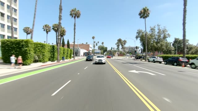 santa monica iii synced series rear view driving process plate - moving process plate stock videos & royalty-free footage