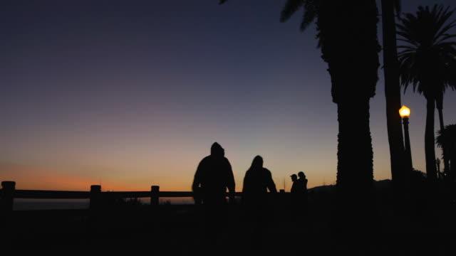 santa monica palisades park at dusk - palisades park stock videos & royalty-free footage