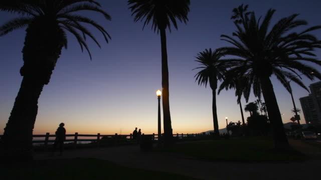 santa monica palisades park at sunset - palisades park stock videos & royalty-free footage
